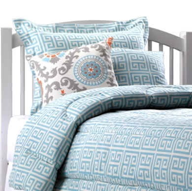Aqua Greek Key Dorm Bedding from American Made Dorm
