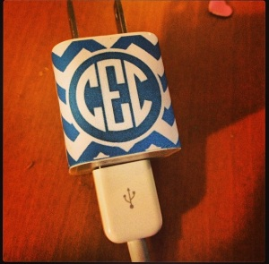 Monogrammed iPhone Charger
