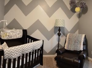 Gray Chevron Nursery Bedding by Liz and Roo