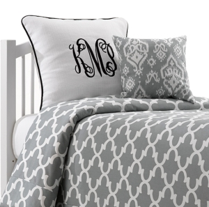 Paloma Gray Quatrefoil Dorm Bedding