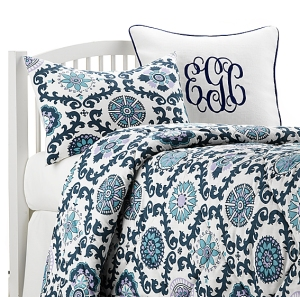 Navy, turquoise, and lavender dorm bedding
