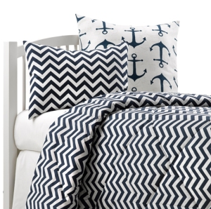 Navy Chevron Dorm Bedding